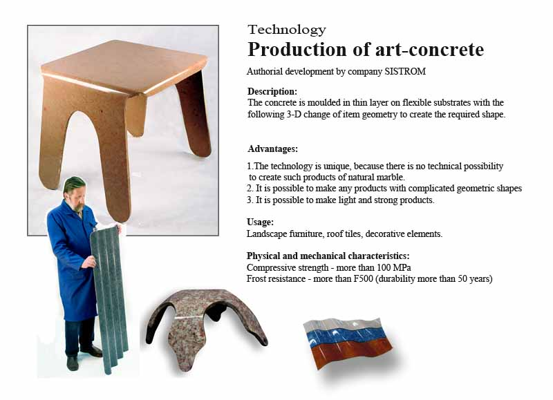 Production of art-concrete Sistrom technology
